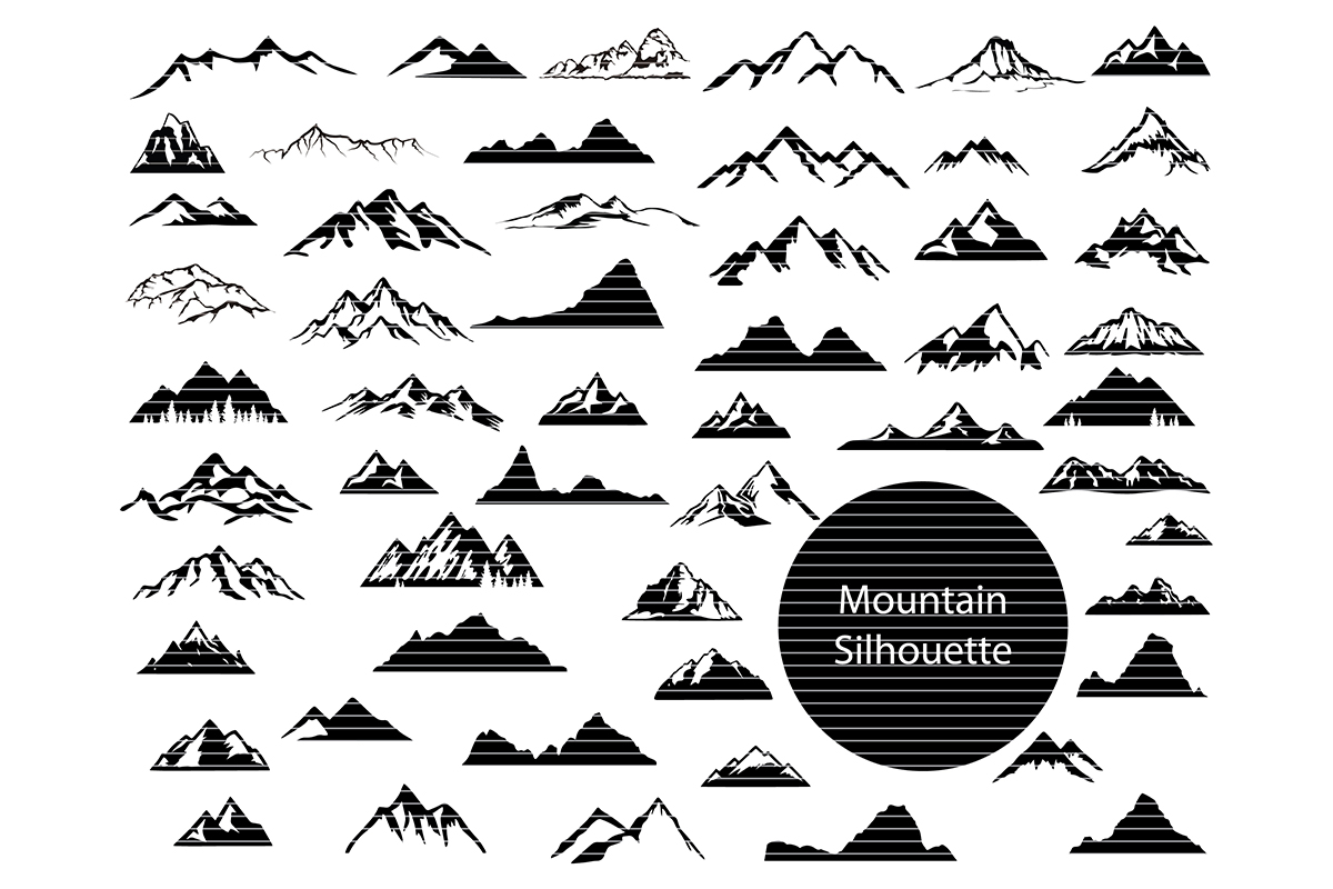 Download Free Mountains Silhouette Clip Art Bundle Graphic By Meshaarts for Cricut Explore, Silhouette and other cutting machines.