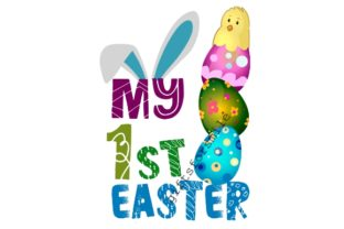 My First Easter, Blue Eggs, Chick Graphic Illustrations By aarcee0027