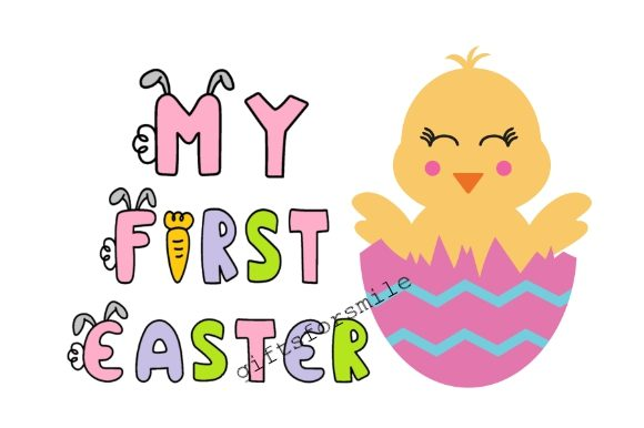 Download Free My First Easter Chick On Eggs Graphic By Aarcee0027 Creative for Cricut Explore, Silhouette and other cutting machines.