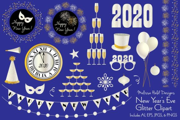 Download Free New Year S Eve Glitter Clipart Graphic By Melissa Held Designs for Cricut Explore, Silhouette and other cutting machines.