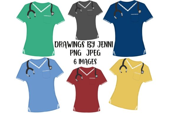 Nurse Scrubs Clipart Set Graphic Illustrations By DrawingsbyJenni  - Image 1