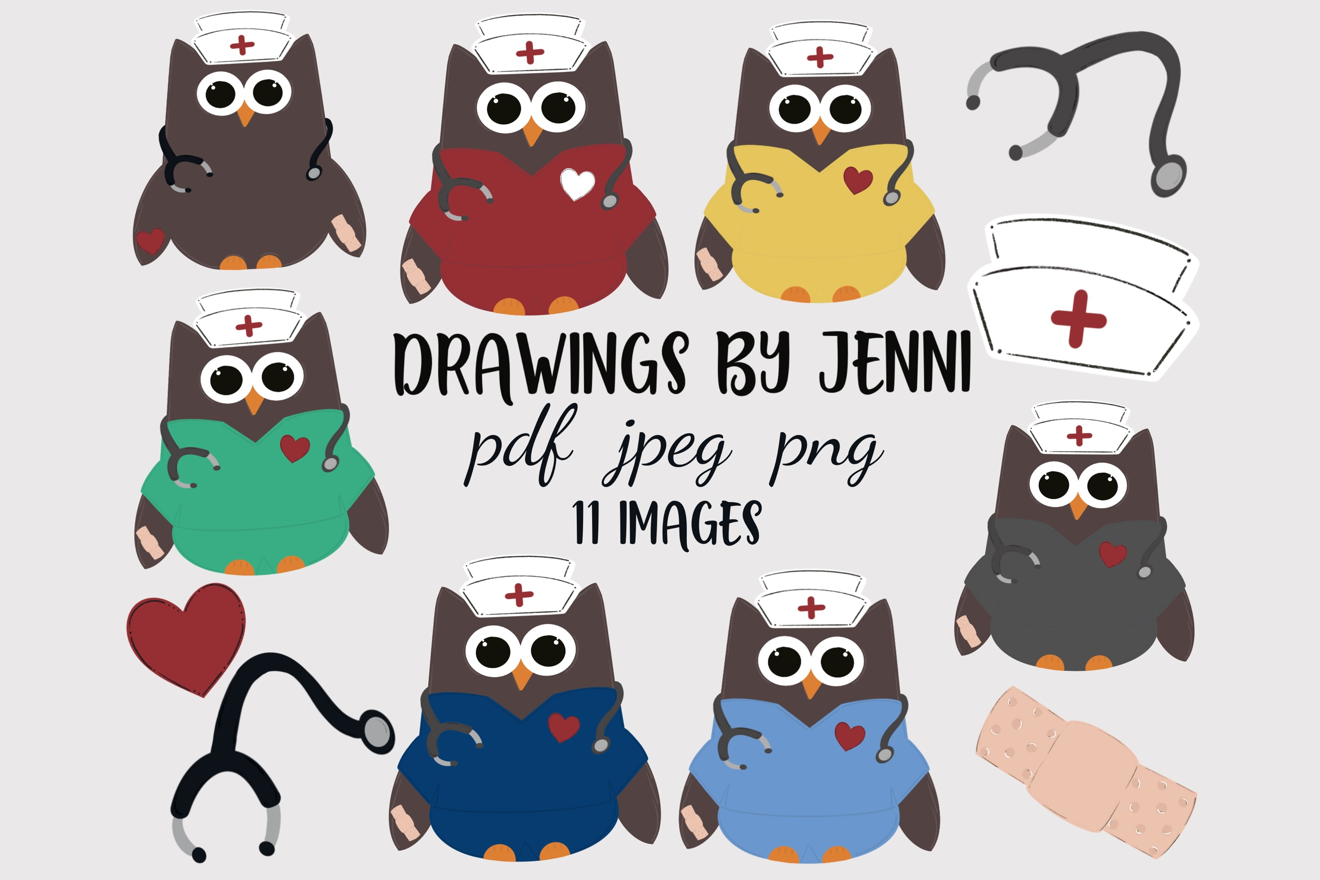 Download Free Nurse Scrubs Set School Nurse Owl Graphic By Drawingsbyjenni for Cricut Explore, Silhouette and other cutting machines.