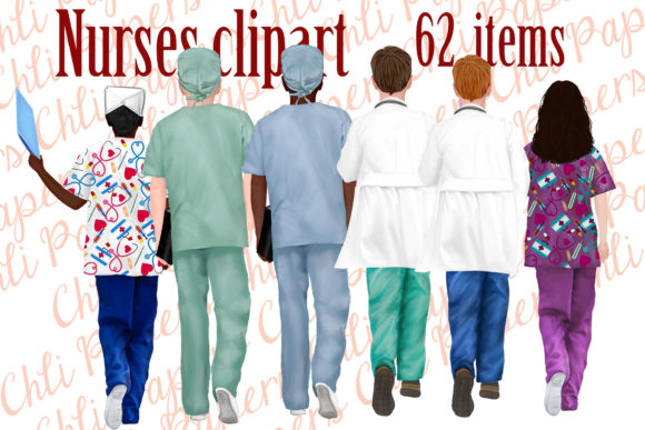 Nurses Clipart, Medical Clipart, Nurse Graphic Illustrations By ChiliPapers