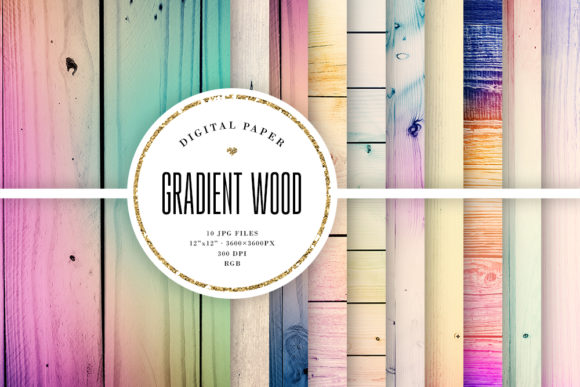 Ombre Wood, Gradient Wooden Textures Graphic Textures By Sabina Leja