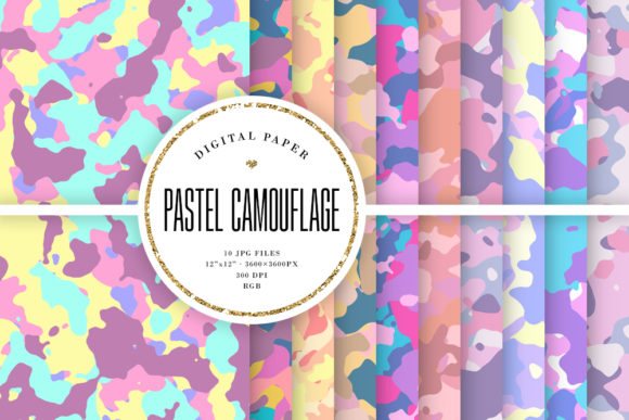 Print on Demand: Pastel Camouflage - Girly Camo Patterns Graphic Backgrounds By Sabina Leja