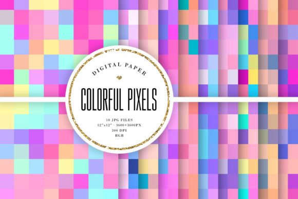 Print on Demand: Pastel Pixels Seamless Patterns Graphic Backgrounds By Sabina Leja