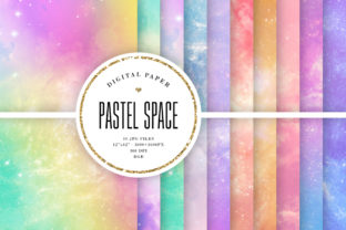 Print on Demand: Pastel Space Backgrounds - Colorful Sky Graphic Backgrounds By Sabina Leja