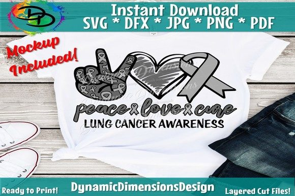 Download Peace Love Cure Svg, Lung Cancer Svg,...
