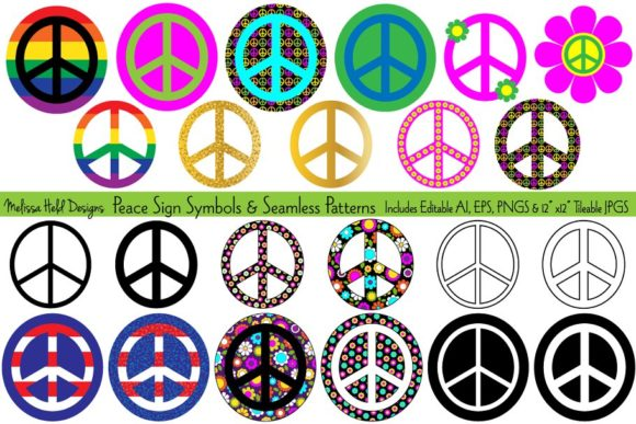 Peace Signs & Seamless Patterns Graphic Icons By Melissa Held Designs