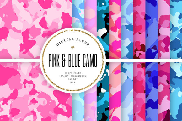 Pink and Blue Camouflage Digital Paper Graphic Backgrounds By Sabina Leja
