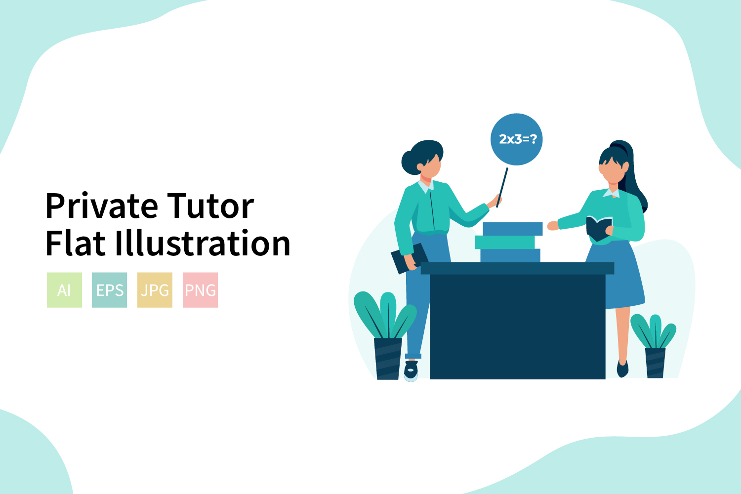 Download Free Private Tutor Flat Vector Illustration Graphic By Sixtwenty for Cricut Explore, Silhouette and other cutting machines.