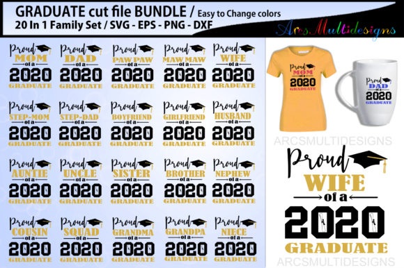 Download Free Proud Graduate Bundle 2020 Graphic By Arcs Multidesigns for Cricut Explore, Silhouette and other cutting machines.