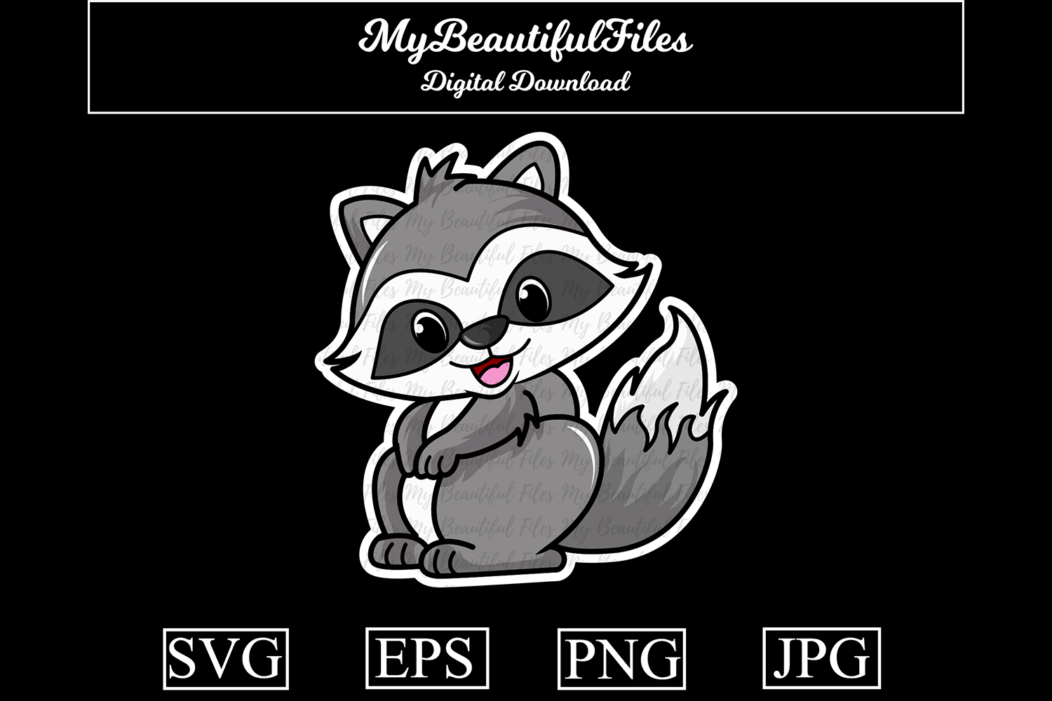 Download Free Raccoon Cartoon Illustration Graphic By Mybeautifulfiles for Cricut Explore, Silhouette and other cutting machines.