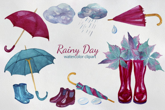 Download Free Rainy Day Watercolor Clipart Graphic By S Yanyeva Creative Fabrica for Cricut Explore, Silhouette and other cutting machines.