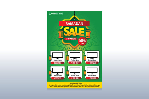 Print on Demand: Ramadan Sale Flyer Template Design Graphic Print Templates By fatrin99art