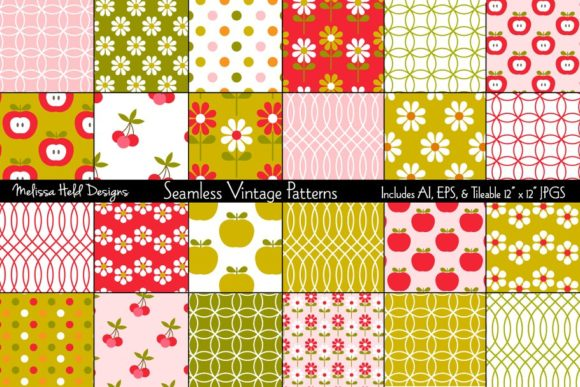 Seamless Vintage Patterns Graphic Patterns By Melissa Held Designs