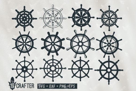 Download Free Ship Steering Wheel Marine Theme Graphic By Great19 Creative for Cricut Explore, Silhouette and other cutting machines.