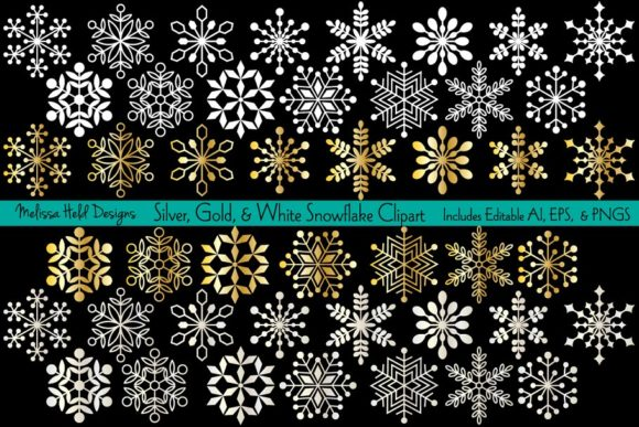 Snowflake Clipart Graphics Graphic Icons By Melissa Held Designs