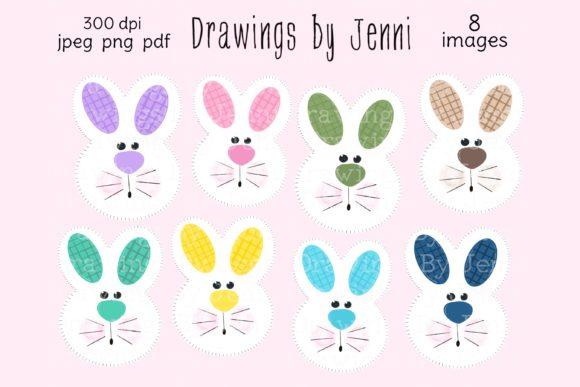 Download Free Spring Easter Bunny Clipart Set Graphic By Drawingsbyjenni for Cricut Explore, Silhouette and other cutting machines.