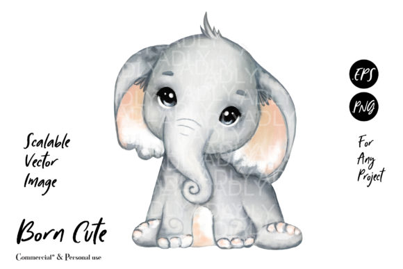Print on Demand: Super Cute Elephant Baby Clip Art Vector Graphic Illustrations By adlydigital