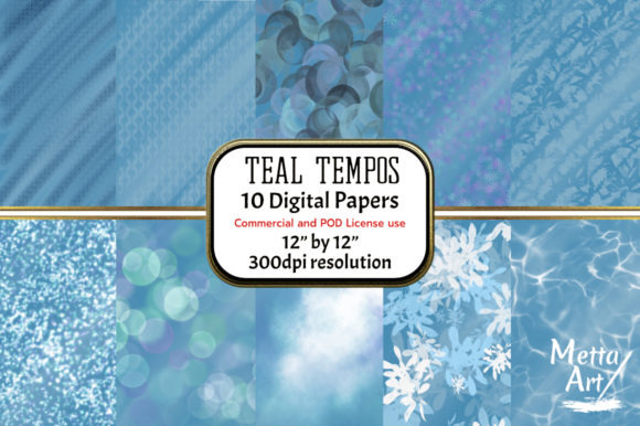 Print on Demand: Teal Tempos - Set of 10 Graphic Backgrounds By Metta Art UK