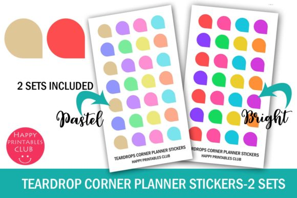 Print on Demand: Teardrops Corner Planner Stickers Graphic Crafts By Happy Printables Club