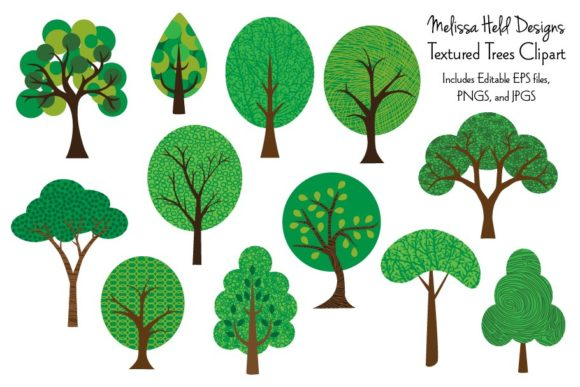 Download Free Textured Trees Clipart Graphic By Melissa Held Designs for Cricut Explore, Silhouette and other cutting machines.