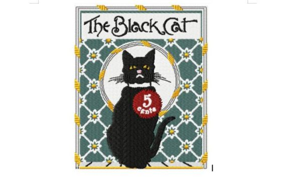 The Black Cat C.May 1896 Cats Embroidery Design By Red Moon Gardens