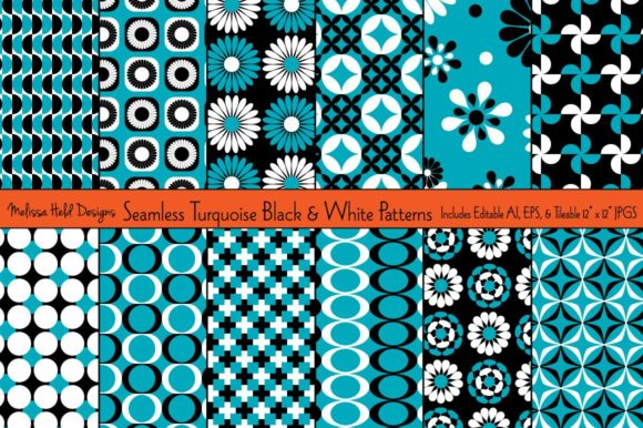 Turquoise, Black & White Patterns Graphic Patterns By Melissa Held Designs