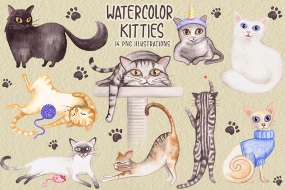 Watercolor Cats Collection Graphic Illustrations By Dapper Dudell