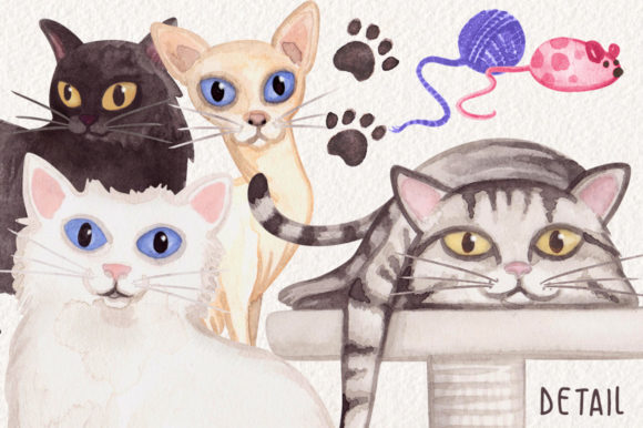 Watercolor Cats Collection Graphic Illustrations By Dapper Dudell - Image 2