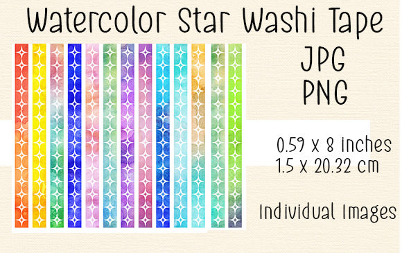 Download Free Watercolor Star Washi Tape 1 Grafico Por Kathryn Maloney for Cricut Explore, Silhouette and other cutting machines.
