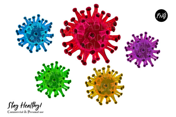 Print on Demand: Watercolor Virus, Germs Graphic Illustrations By adlydigital