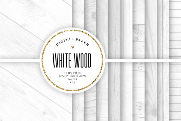 Print on Demand: White Wood Digital Paper, Grey Textures Graphic Textures By Sabina Leja