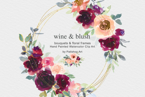 Wine & Blush Watercolor Clip Art Set Graphic Illustrations By Patishop Art