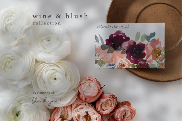 Wine & Blush Watercolor Clip Art Set Graphic Illustrations By Patishop Art - Image 7