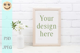 Print on Demand: Wooden Frame Mockup with Tobacco Flowers Graphic Product Mockups By TasiPas
