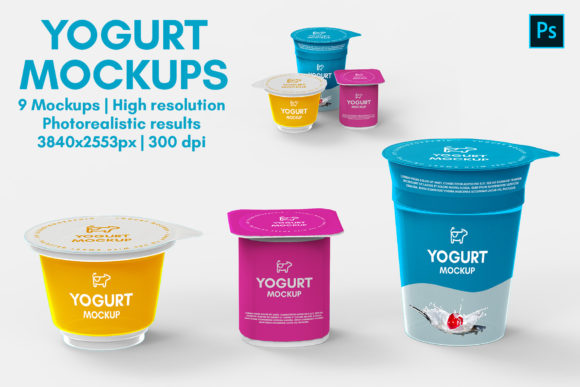 Yogurt Mockups - 9 Views Graphic Product Mockups By illusiongraphicdesign