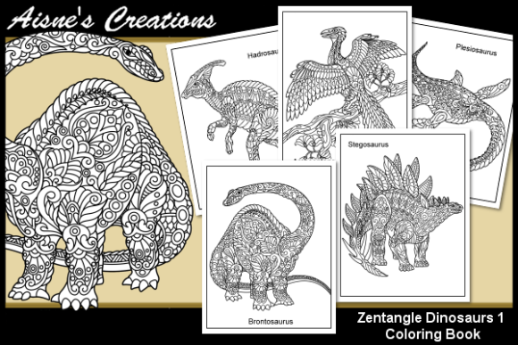 Print on Demand: Zentangle Dinosaurs Coloring Book 1 Graphic Coloring Pages & Books Adults By Aisne - Image 1
