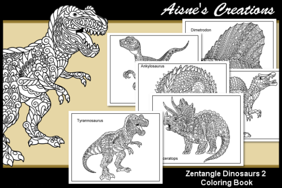 Print on Demand: Zentangle Dinosaurs Coloring Book 2 Graphic Coloring Pages & Books Adults By Aisne - Image 1