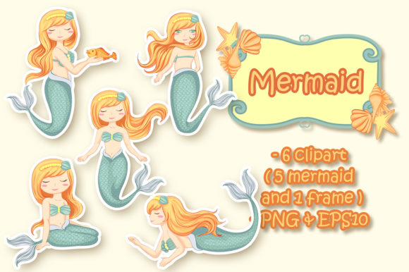 Print on Demand: A Set of Beautiful Mermaids Illustration Graphic Illustrations By OrchidArt