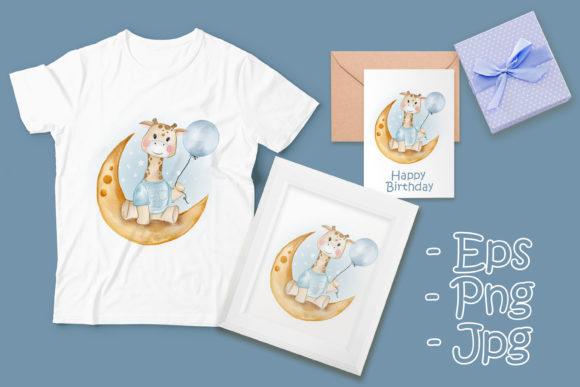 Print on Demand: Baby Giraffe Holding Balloon Watercolor Graphic Illustrations By OrchidArt