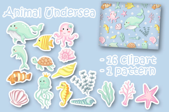 Print on Demand: Set of Animal Under Sea Clipart Gráfico Ilustraciones Por OrchidArt
