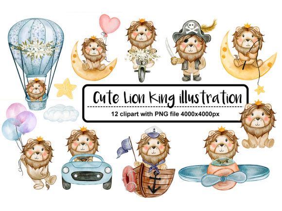 Print on Demand: Set of Cute Baby Lion Watercolor Graphic Illustrations By OrchidArt - Image 1