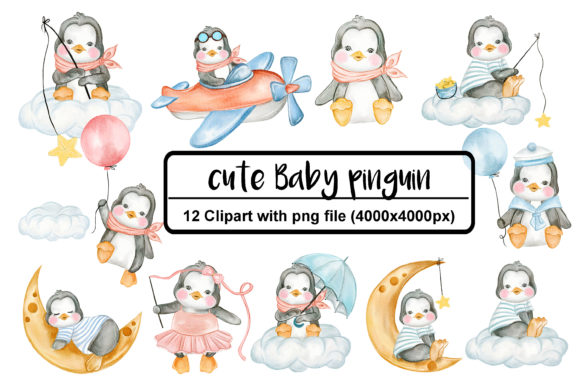 Print on Demand: Set of Cute Penguin Watercolor Graphic Illustrations By OrchidArt