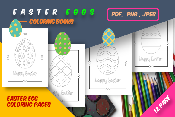 Print on Demand: 12 Easter Egg Coloring Pages Graphic Coloring Pages & Books Adults By icutletterstudio - Image 1