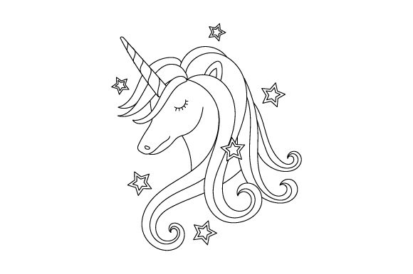 Unicorn - Coloring Book Design Kinder Plotterdatei von Creative Fabrica Crafts