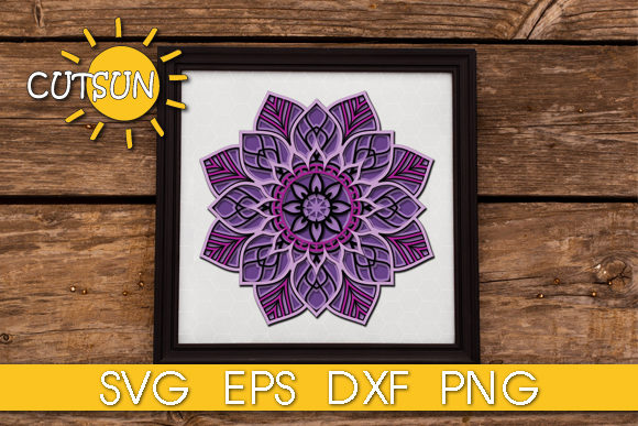 Download Free 3d Layered Mandala 5 Layers Graphic By Cutsunsvg Creative Fabrica for Cricut Explore, Silhouette and other cutting machines.