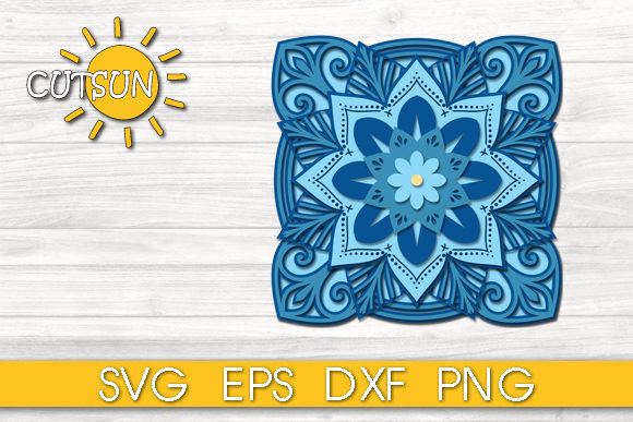Download Free 3d Layered Square Mandala 11 Layers Graphic By Cutsunsvg for Cricut Explore, Silhouette and other cutting machines.