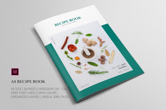 Download Free A5 Recipe Book Template Graphic By Bookrak Creative Fabrica for Cricut Explore, Silhouette and other cutting machines.